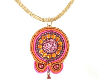 Soutache Pendant - Neon Pink Necklace - Embroidered Jewelry - Statement Necklace - Pink Beaded Bijoux - Birthday Gift Mom - Beaded Medallion