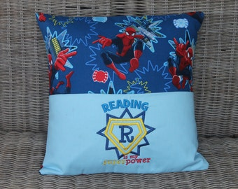 Reading Pillow, Pocket Pillow, Pillow, Reading, Youth, Children, Reader, Superhero, Books, Birthday Gift, Baby Gift, Embroidered, Handmade