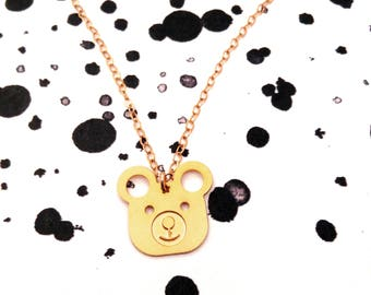 Teddy bear Necklace Gold Filled Necklace Panda Icon Jewelry Design Art Logo Necklace Beep Studio Jewelry Gold Plated Small Pendant Miniature