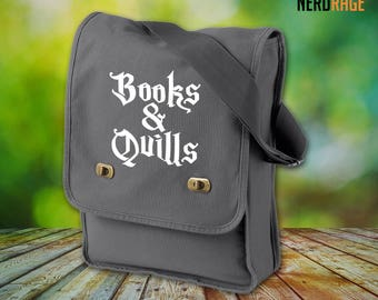Books and Quills Canvas Field Bag - Cotton Canvas Bag - Harry Potter Inspired Bag - Custom Bags Available