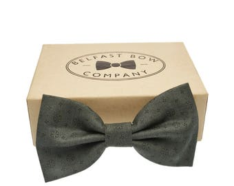 Handmade Classic Print Bow Tie in Dark Green - Adult & Junior sizes available