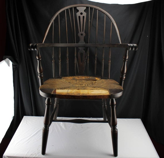 Antique Bow Back Windsor Chair Woven Rush Seat Circa 1890 Furniture