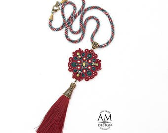 Maroon Tassel Necklace Long Tassel Necklace Boho Chic Necklace Red Bead Soutache Jewelry