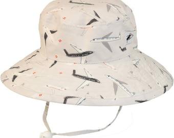 Child's Sun Protection Sunbaby Hat - Cotton Print in Jet Planes (6 month, xxs, xs, s, m)