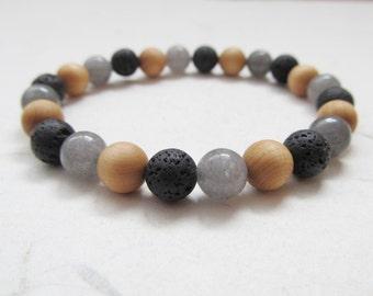 Yoga bracelet, agate bracelet, wooden bracelet, mens bracelet