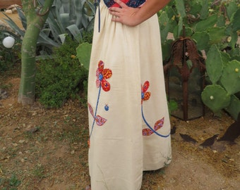 1970's Wildflower Applique Prairie Boho Hippie Cotton Calico Muslin Maxi Skirt  M / L