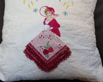 Beautiful Belle Quilted and Embroidered Pillow