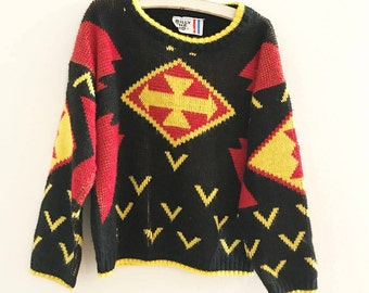 Vintage Billy the Kid sweater. Black red yellow top. Kids sweater. Size 5