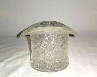 Vintage Indiana Glass Top Hat,Toothpick Holder,Daisy Button,Daisy Button Top Hat,Indiana Glass Co,Vintage Glass,Matchstick Holder,1950s
