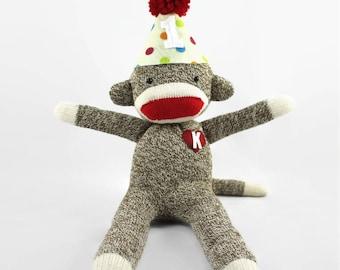 Happy Birthday Sock Monkey Doll, Sock Monkey Birthday, Sock Monkey Party Theme, Sock Monkey Cake Topper, First Sock Monkey Birthday