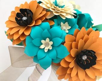 Paper Flower Bouquet, Paper Bouquet Wedding, Paper Bridal Bouquet, Paper Rose Bouquet, Mint Bouquet, Cream Bouquet, Orange Bouquet