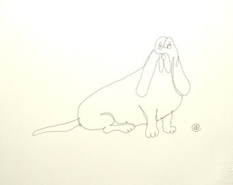 Single Line Art Print : One line dog art etsy