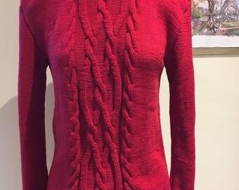 Handmade hand knitted crimson red ladies women jumper sweater classic Celtic motif design size 10 12 Medium cotton + sustainable bamboo yarn
