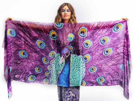Pink peacock scarf peacock feathers bird gift feather for Portent of item protection