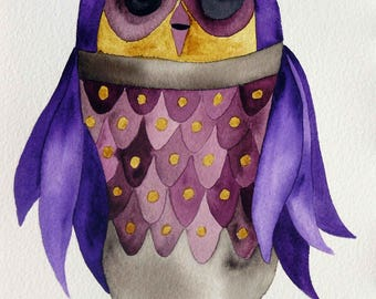 Owl art, whimsical art, original art, watercolor painting, kids room art, nursery art, whimsical animal art, owl decor, whimsical bird art