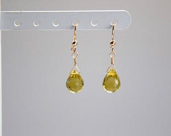 Elegant faceted Yellow Citrine, Teardrop Earrings, Gold, Bridal