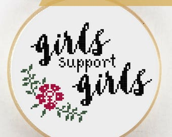 Girls Support Girls Feminist Cross Stitch Pattern Download, Girl Power, Feminism, Girls Supporting, Women Support, Girl Support, Girl Love