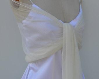 Bridal stole tulle plumetis scarf bridal ivory tulle, lace woman ivory shawl, ivory lace, chic ivory bridal shawl