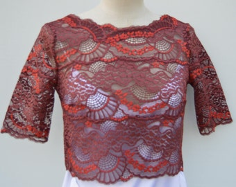 Lace top cocktail, cocktail blouse lace Burgundy, Burgundy 3/4 sleeves lace top, 3/4 sleeve Burgundy top, Scoop Neck top