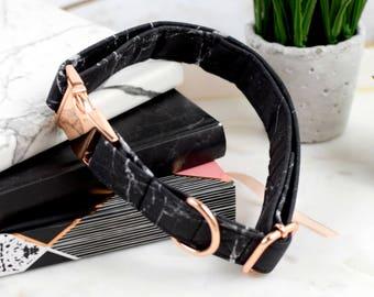 Dog Collar - Black/White Marble - Rose Gold Hardware