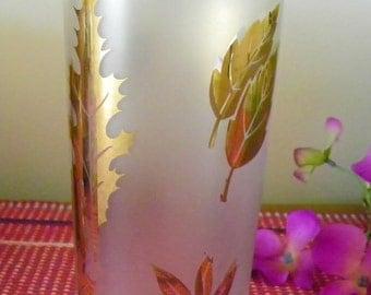 Vintage Libbey Gold Leaf Frosted Glass Tumbler