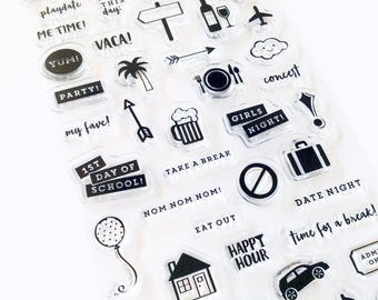 Everyday Life Clear Stamps - Planner Stamps, Clear stamps, Stamp Set, Planning Stamps, Bullet Journal, Adventure, Party, Date Night, Event