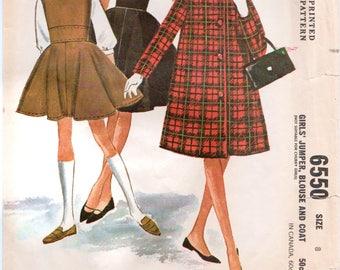 Girls Vintage Coat Girls Vintage Dress Jumper and Blouse McCALLS 6550 Girls Size 8 Girls Jumper Pattern 1960s Girls Outfit Girls Dress Coat
