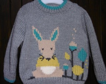 Baby boy pattern 6 months to 2 years mouse handmade sweater