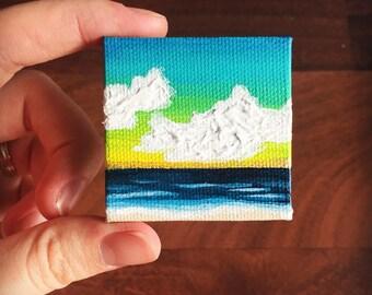 Mini CanvasWaves Ocean Clouds Sea Surf Beach Painting Wall Art Original Artwork