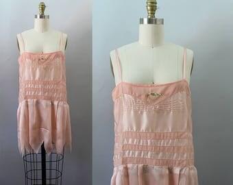1920s Pink Slip / Vintage Antique Silk 20s Teddy / S M
