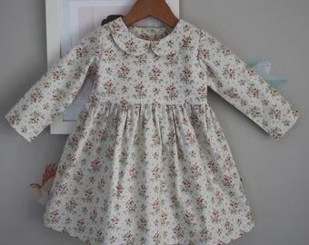 Toddler Girls Dress Size 3 / Longsleeve Dress / Floral Dress / babies clothing  / 3T Summer Dress / Retro Dress Peter Pan Collar