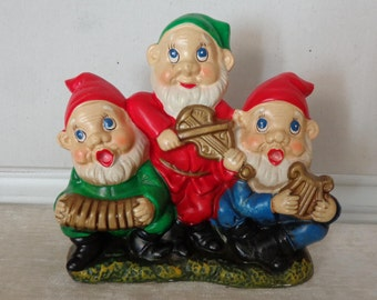 Vintage Gnome Music Box, Elves Music Box, Oh Come All Ye Faithful