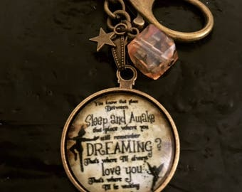 Keyholder with Peter Pan's quote