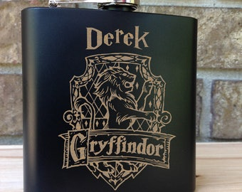 Gryffindor House Coat of Arms - Harry Potter Theme Engraved Single Flask Personalized with First Name - SHIPS from the USA
