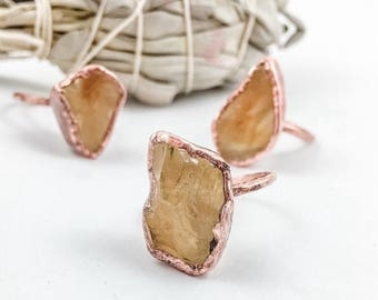 ON SALE Citrine Ring | Raw Untreated Citrine | November Birthstone | Made to Order | Electroformed Jewelry | Raw Ring | Crystal Ring