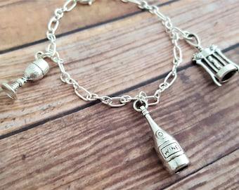 Wine Charm Bracelet, Wine Jewelry, Gift For Her, Wine Lover Gift, Red Wine, White Wine, Corkscrew Charm, Wine Glass Charm, Wine Drinker Gift
