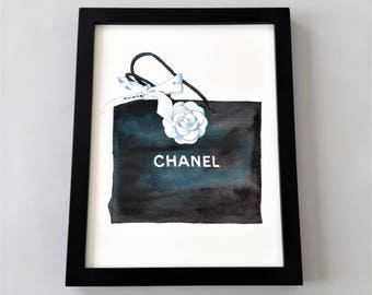 Chanel Bag Print, Chanel Wall Art, Chanel Printable, Coco Chanel, Chanel Printable Art, Fashion Print, Fashion Printable, Black Chanel Bag