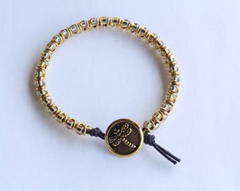 Fashion Bracelet, Gold Dragonfly Button, Boho, Gold AB Seed Beads