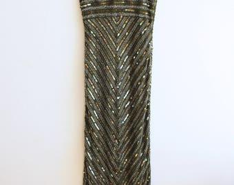 vintage silk sequin maxi dress boho chic fancy