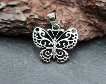 Sterling Silver Butterfly Pendant, Silver Butterfly, Butterfly Jewelry, Necklace Component, Butterfly Necklace, Silver Pendant, 925