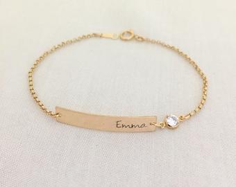 Baby Girl Bar Bracelet, Gold Bar with Crystal Bracelet, Baby Jewelry, Christening Gift, Bridesmaid Bracelet, Name Bracelet, Personalized Bar