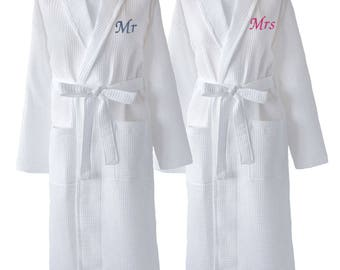 Matching Couples Waffle Dressing Gowns, Wedding Day Gift, Mr and Mrs Robes, Bride & Groom Gifts, Wedding Day Dressing Gowns