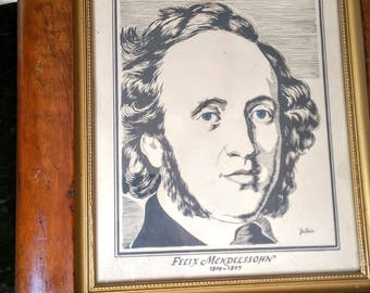 Antique Wood Frame with Felix Mendelssohn Print