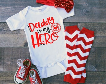 Daddy Is My Hero Fireman Fire Fighter Newborn Baby Girl Boy Toddler Clothes  Rompers Baby Shower