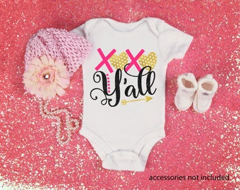 XOXO Y'all Cute Valentie's Day Funny  Bodysuit or T-Shirt for Baby Toddler Kid Newborn Babies Shower Coming Home Gift Idea Creeper Present