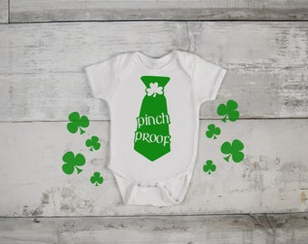 Pinch Proof Tie St. Patricks Day Funny  Bodysuit or T-Shirt for Baby Toddler Kid Newborn Babies Shower Coming Home Gift Idea Creeper Present