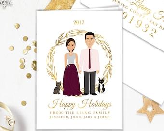 Couple Portrait Holiday Card / Christmas Card Portrait, Family, Children, Pet Portrait Illustration ▷ Printed Heavy Paper {or} Printable
