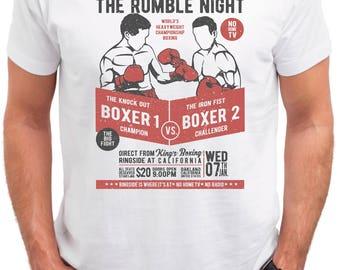 Classic Boxing. Men's white cotton t-shirt
