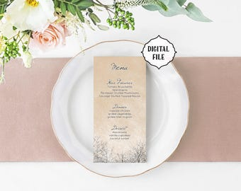Winter Wedding menu, Printable Menu, Winter menu, trees wedding menu, rustic menu, rustic wedding, winter wedding, snow wedding menu, beige