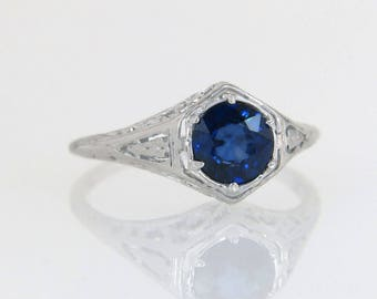 Antique Estate 1.00ct Genuine Sapphire 18K White Gold Filigree Art Deco Ring